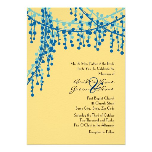 Yellow and teal beaded wedding invitation 5 quot x 7 quot invitation card
