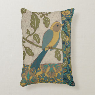 Yellow and Teal Blue Bird Perched on a  Branch Accent Pillow