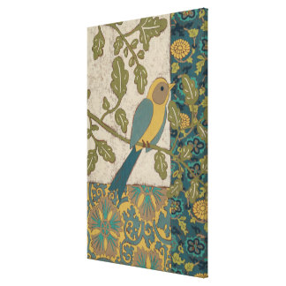 Yellow and Teal Blue Bird Perched on a  Branch Canvas Print