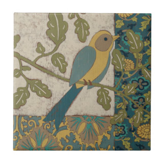 Yellow and Teal Blue Bird Perched on a  Branch Ceramic Tile
