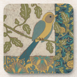 Yellow and Teal Blue Bird Perched on a  Branch Drink Coaster
