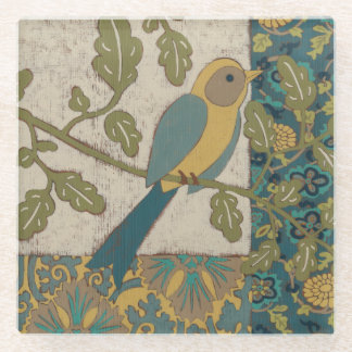 Yellow and Teal Blue Bird Perched on a  Branch Glass Coaster