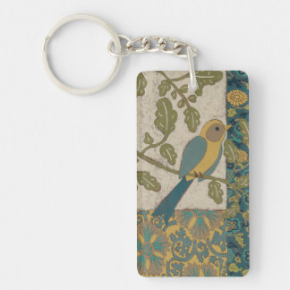Yellow and Teal Blue Bird Perched on a  Branch Keychain