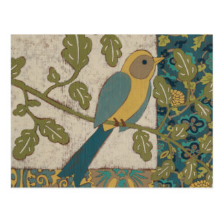 Yellow and Teal Blue Bird Perched on a  Branch Postcard