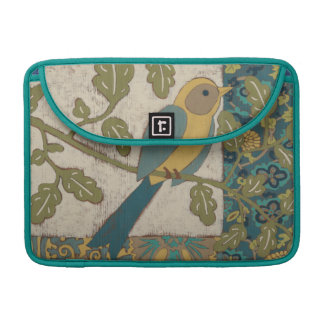 Yellow and Teal Blue Bird Perched on a  Branch Sleeve For MacBook Pro