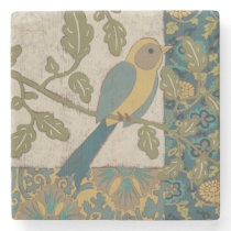 Yellow and Teal Blue Bird Perched on a  Branch Stone Coaster