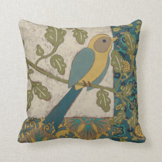 Yellow and Teal Blue Bird Perched on a  Branch Throw Pillow