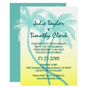 Yellow and teal wedding invitations zazzle yellow and teal blue palm tree wedding invitations stopboris Images