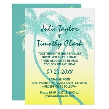 raphaela_wilson Yellow and Teal Blue Palm Tree Wedding Invitations
