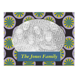 Yellow and teal circle photo frame postcard