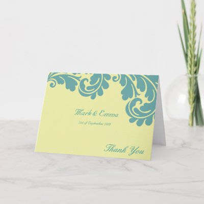 Yellow and teal damask wedding Thank you card by Cards by Cathy