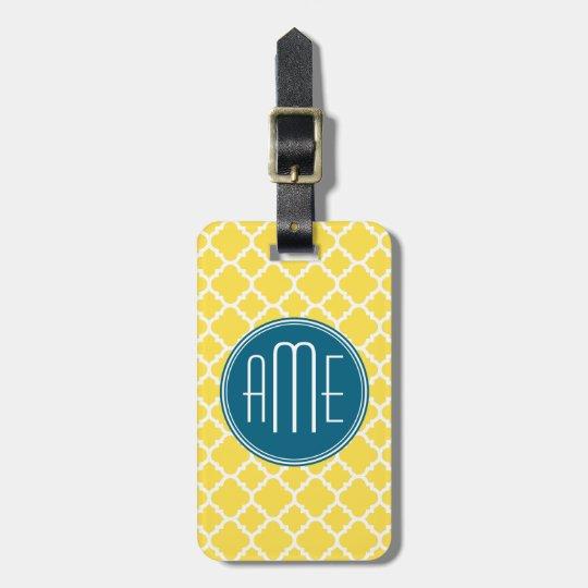 Yellow and Teal Quatrefoil Pattern Custom monogram Bag Tag