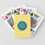 Yellow and Teal Quatrefoil Pattern Custom monogram Bicycle Playing Cards