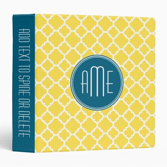 Yellow and Teal Quatrefoil Pattern Custom monogram Binder
