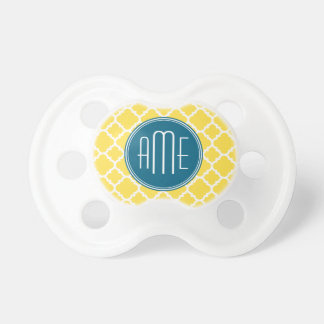 Yellow and Teal Quatrefoil Pattern Custom monogram Pacifier