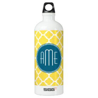 Yellow and Teal Quatrefoil Pattern Custom monogram SIGG Traveler 1.0L Water Bottle
