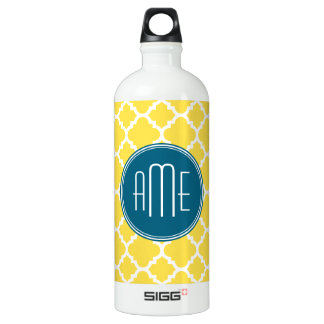 Yellow and Teal Quatrefoil Pattern Custom monogram Water Bottle