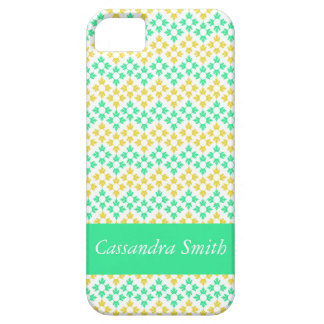 Yellow and Teal Snowflakes iPhone SE/5/5s Case