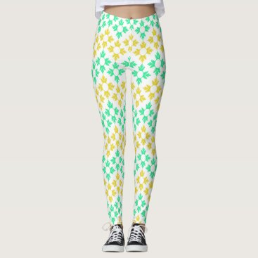 Beach Themed Yellow and Teal Snowflakes Leggings