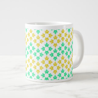 Yellow and Teal Snowflakes Extra Large Mugs
