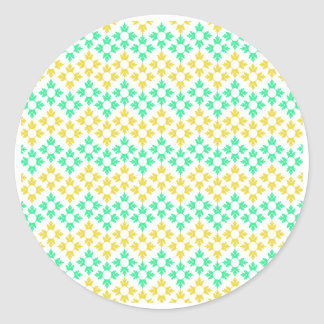 Yellow and Teal Snowflakes Round Sticker