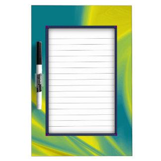 Yellow and Teal Swirl Dry-Erase Board