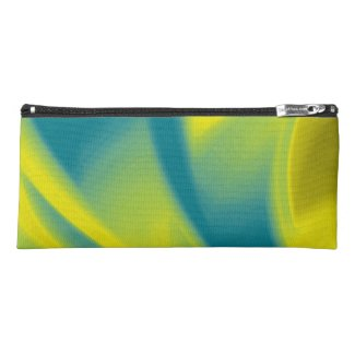 Yellow and Teal Swirl Pencil Case