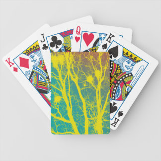 YELLOW AND TEAL TREES POKER CARDS