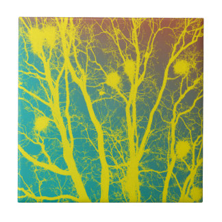 YELLOW AND TEAL TREES SMALL SQUARE TILE