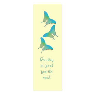 Yellow And Turquoise Butterfly  - Book Marker Double-Sided Mini Business Cards (Pack Of 20)