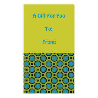 Yellow and Turquoise Circles Gift Tag Business Card