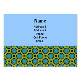Yellow and turquoise circles large business card