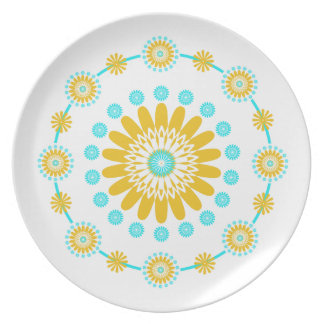 Yellow And Turquoise Geometric Pattern Plate