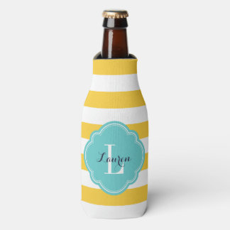 Yellow and Turquoise Preppy Stripes Monogram Bottle Cooler