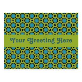 Yellow and Turquose Circle Postcard