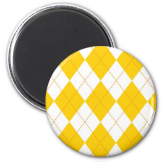 Yellow and White Argyle Pattern 2 Inch Round Magnet