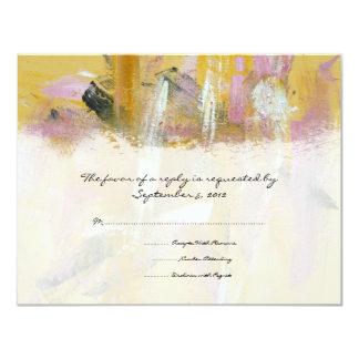 Yellow and White Artistic Wedding RSVP Card