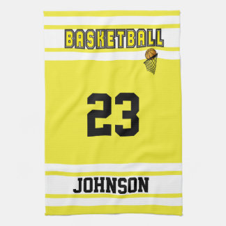 Yellow and White Basketball Hand Towel