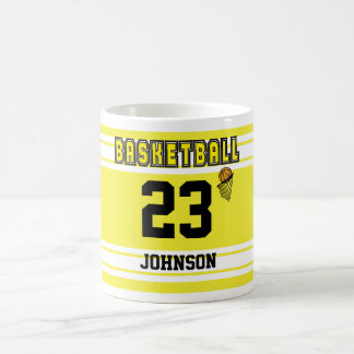 Yellow and White Basketball Sport Jersey Coffee Mug