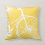 Yellow and White Bicycle Pillow