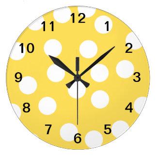 Yellow and White Big Dot Pattern. Large Clock