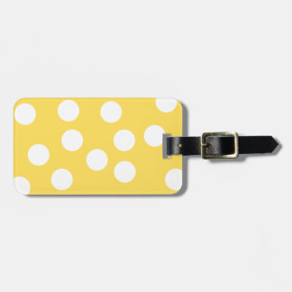 Yellow and White Big Dot Pattern. Tag For Luggage