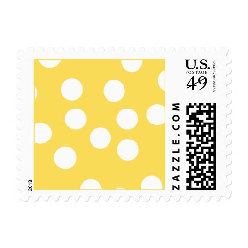 Yellow and White Big Dot Pattern. Postage Stamps