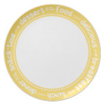 Yellow and white Breakfast Lunch Dinner text plate