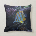 """Yellow and White Butterfly Fish"" American MoJo Pi Pillow"