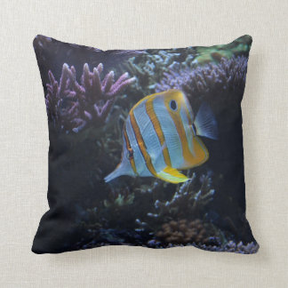 """Yellow and White Butterfly Fish"" American MoJo Pi Throw Pillow"