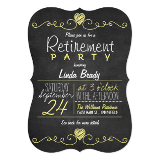 Yellow and White Chalkboard Retirement Party Card