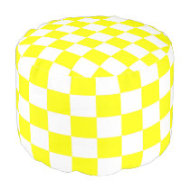 Yellow and White Checkered Ottoman