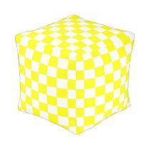 Yellow and White Checkered Ottoman
