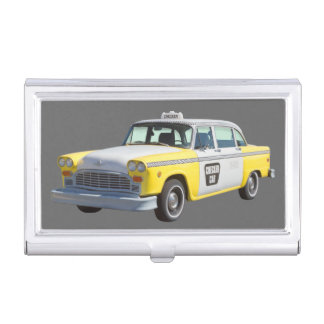 Yellow and White Checkered Taxi Cab Business Card Holder
